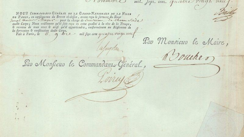 Un document historique signé par le marquis La Fayette